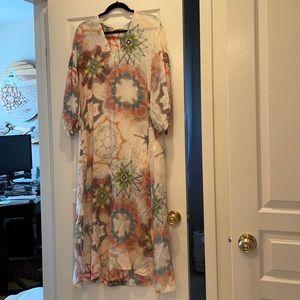 momoni silk floral dress